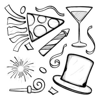 Hand getekend nieuwjaar partij element collectie