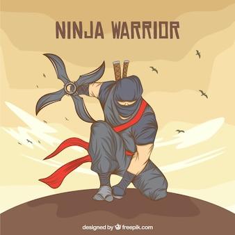 Hand getekend ninja warrior achtergrond