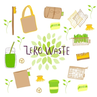 Hand getekend nul afval concept set. geen plastic elementen van eco-leven: herbruikbaar papier, bamboe, houten, stoffen katoenen tassen, glas, potten, bestek. vector gaat groen, bio-logo of teken. organische ontwerpsjabloon