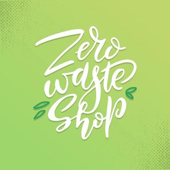 Hand getekend nul afval winkel logo of teken