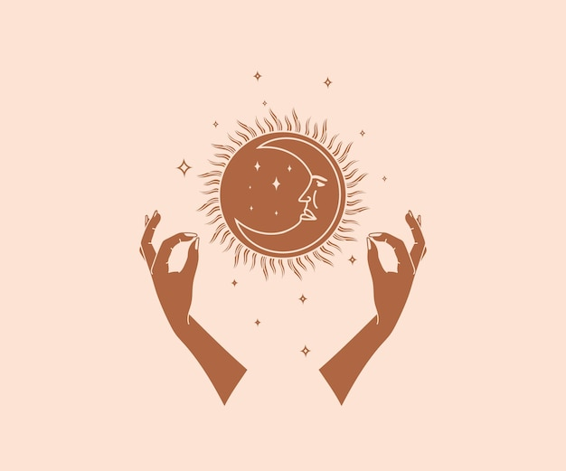 Hand getekend occultisme magisch handen logo met zon sterren maan met menselijk gezicht esoterische elementen