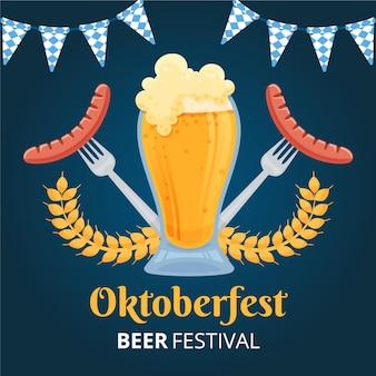 Hand getekend oktoberfest achtergrond met bier en worstjes