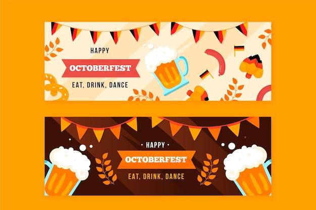 Hand getekend oktoberfest banners pack