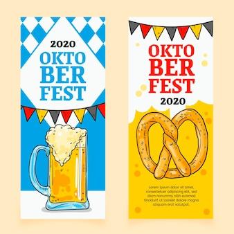 Hand getekend oktoberfest banners set