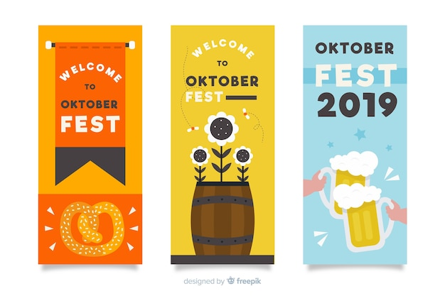 Hand getekend oktoberfest banners sjabloon