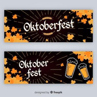 Hand getekend oktoberfest banners