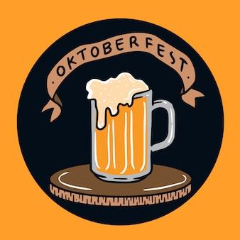 Hand getekend oktoberfest bierglas illustratie