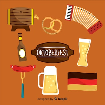 Hand getekend oktoberfest element collectie