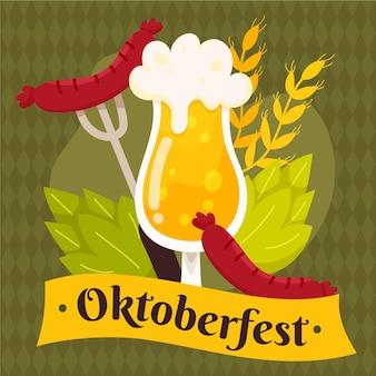 Hand getekend oktoberfest eten en bier illustratie