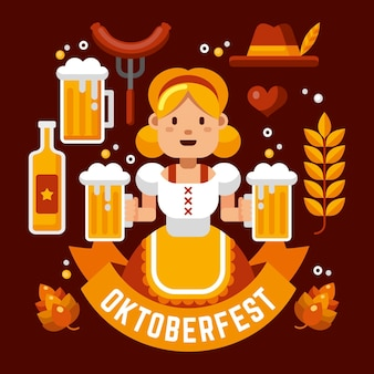 Hand getekend oktoberfest karakter geïllustreerd