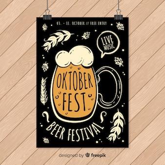 Hand getekend oktoberfest poster sjabloon