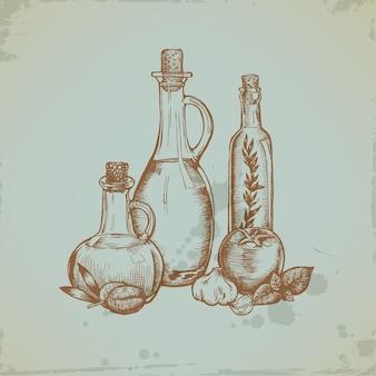 Hand getekend olijfolie in glazen flessen