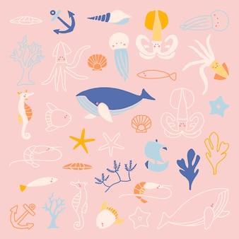 Hand getekend onderwater dierencollectie