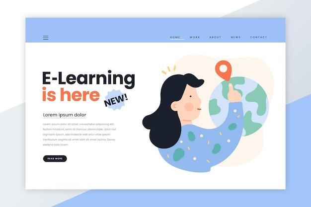 Hand getekend online bestemmingspagina-sjabloon voor leren