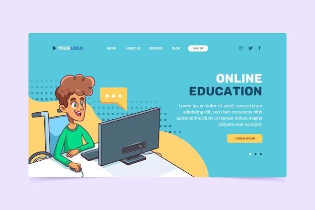 Hand getekend online leren websjabloon