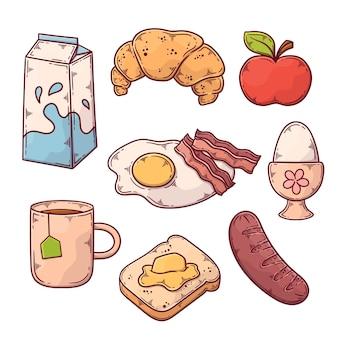 Hand getekend ontbijt eten collectie