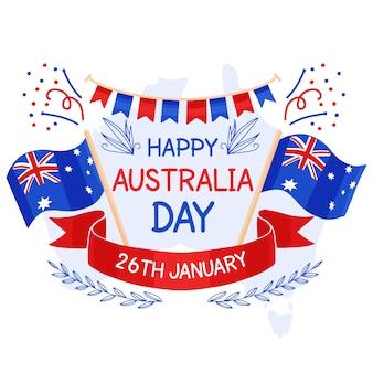 Hand getekend ontwerp australië dag evenement