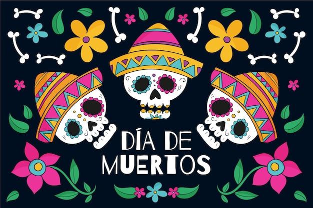 Hand getekend ontwerp dag van de dode achtergrond