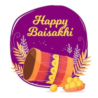 Hand getekend ontwerp gelukkig baisakhi
