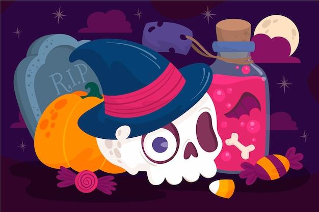 Hand getekend ontwerp halloween achtergrond