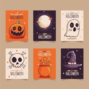 Hand getekend ontwerp halloween kaart collectie