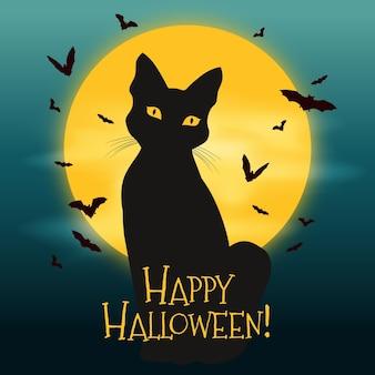 Hand getekend ontwerp halloween kat