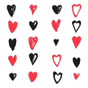 Hand getekend ontwerp hart pack