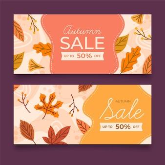 Hand getekend ontwerp herfst verkoop banners