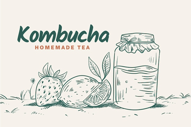 Hand getekend ontwerp kombucha thee
