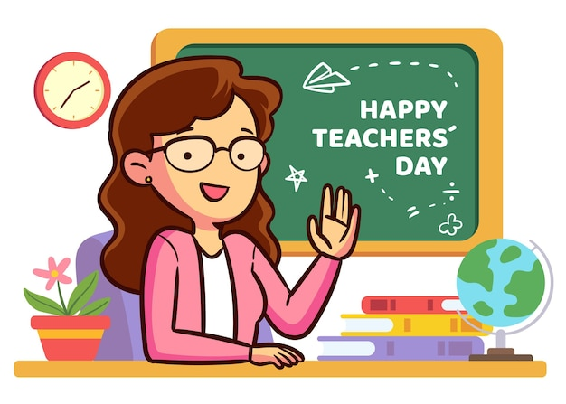 Hand getekend ontwerp leraren dag evenement