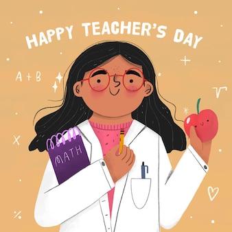Hand getekend ontwerp leraren dag