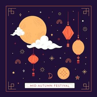 Hand getekend ontwerp midden herfst festival