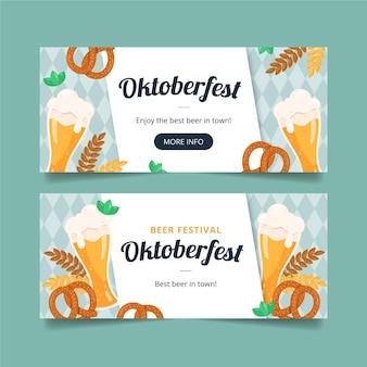 Hand getekend ontwerp oktoberfest banners