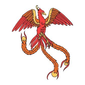 Hand getekend ontwerp phoenix