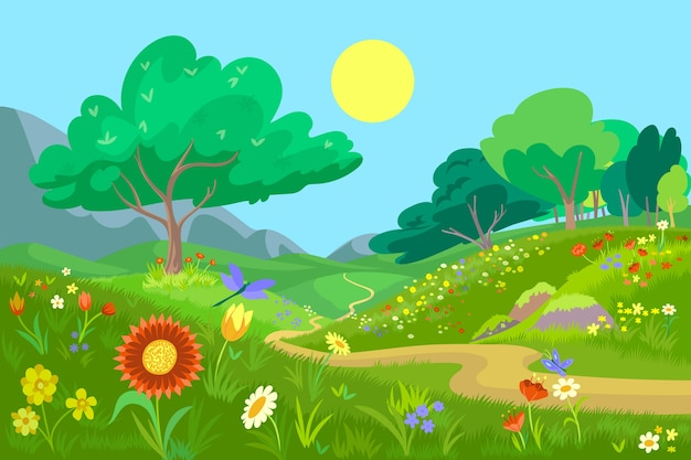 Hand getekend ontwerp prachtige lente landschap