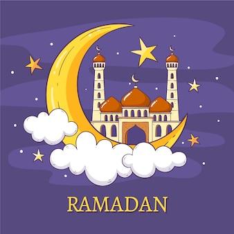 Hand getekend ontwerp ramadan
