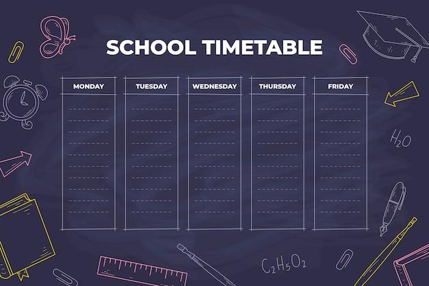 Hand getekend ontwerp terug naar school tijdschema