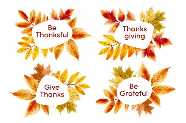 Hand getekend ontwerp thanksgiving badges