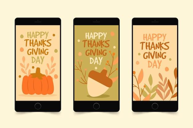 Hand getekend ontwerp thanksgiving instagramverhalen