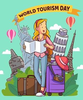 Hand getekend ontwerp toerisme dag evenement