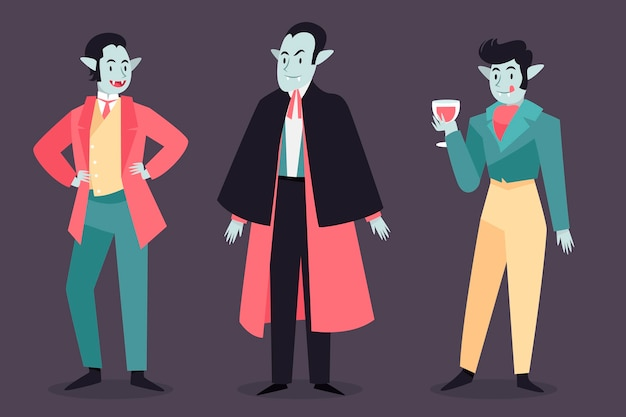Hand getekend ontwerp vampier karakterpakket