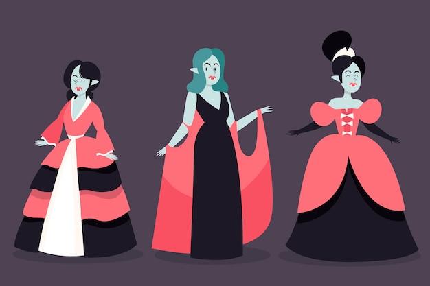 Hand getekend ontwerp vampier karakters