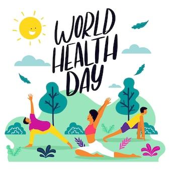 Hand getekend ontwerp voor wereldgezondheidsdag