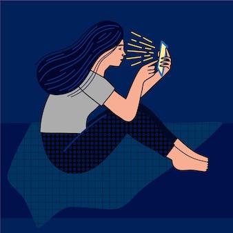 Hand getekend ontwerp vrouw met telefoon