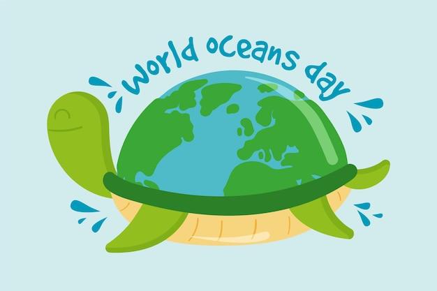 Hand getekend ontwerp wereld oceanen dag