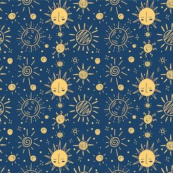 Hand getekend overstuur zon patroon