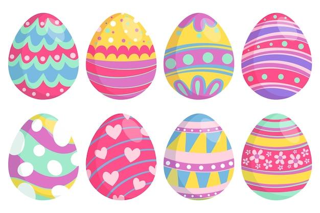 Hand getekend paasdag eieren met vrolijke kleuren