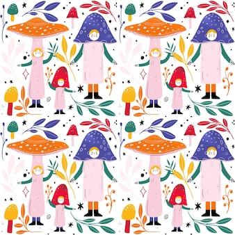Hand getekend paddestoel patroon