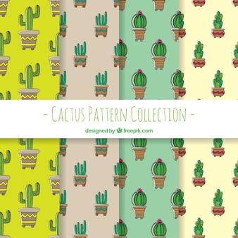 Hand getekend pak cactuspatronen