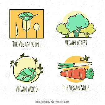 Hand getekend pak veganistisch logo's